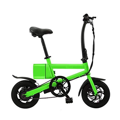 Bicicleta eléctrica para adultos, bicicleta eléctrica plegable ligera con batería de 240 W / 36 V Velocidad máxima 25 km / h Ruedas de 12 pulgadas Frenos de doble disco para adultos y viajeros,Verde