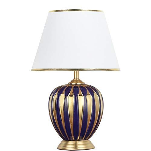 Yuemingsong Lighting Keramik Tischlampe, H65 Messing Nachttischlampe Nachtlampe Leselampe, E27 Tischleuchte mit Stoff Lampenschirm für Wohnzimmer Arbeitszimmer Schlafzimmer Büro