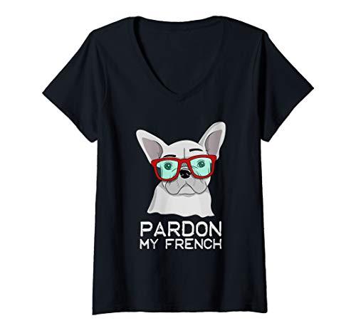 Womens Pardon My French Bulldog White Frenchie Cute Dog V-Neck T-Shirt