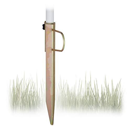Relaxdays Rasendorn Sonnenschirm, Gartenschirm Schirmständer, Stahl verzinkt, für Stockgrößen bis 32 mm, H=43 cm, bronze