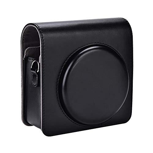 Bolso para cámara, Funda Protectora de Cuero de PU con Correa para Fujifilm Instax SQ6, Negro, marrón(Negro)
