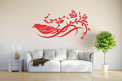 INDIGOS WallStickers-Extra d143 - Adhesivo Decorativo para Pared (Vinilo, 40 x 20 x 1 cm), diseño de pájaros en una Rama de 40 x 20 x 1 cm, Color Rojo