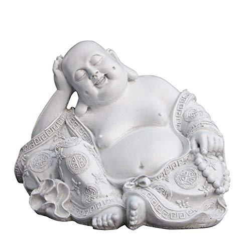 Tiefes Kunsthandwerk Steinfigur Buddha in Antik-weiss, Figur Deko Statue frostsicher für Haus und Garten