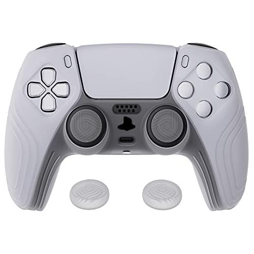 eXtremeRate PlayVital Funda de Silicona para PS5 Protector Tacto Suave Carcasa Ergonómica con 2 Tapa de Joysitck para Playstation 5 Funda de Goma para PS5 Mando(Edición Samurai-Blanco Claro)