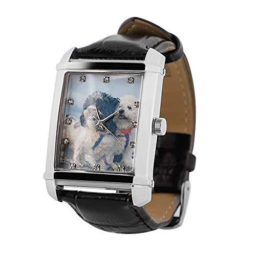 Relojes Hombre Reloj de Fotos Personalizado para Hombres Día del Padre del Grabado Analógico Reloj Negro/Marrón Correa de Cuero Dial Clásico Reloj Impermeable para el Día de San Valentín