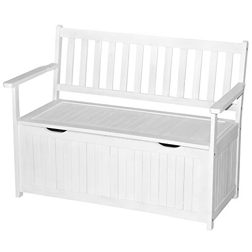 Outsunny 41 Gallon Outdoor Storage Bench, Wooden Deck Box with PE Lining, 2-Seat Container Perfect for Store Garden Tools Toys, White