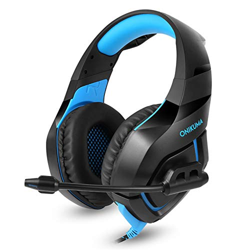 GSUMMER Computer Headphones,PS4 Gaming Headphones Headphones Headphones with Microphone for Mobile Computer Tablet,Blue