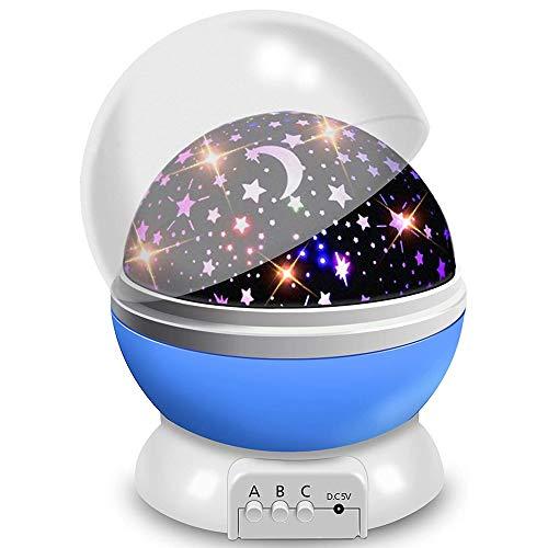ZIIFEEL Proyector Estrellas,Luz Nocturna Infantil,Proyector de Estrellas,Proyector Estrellas Techo,Luz Nocturna 360° Rotación Romántica,Conecte el Usb o la Batería,Grandes Regalos para Niño(Azul)