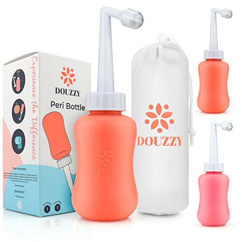 DOUZZY Peri Bottle for Postpartum Essential Perineal Recovery - Portable Bidet - Soothing After Birth Tears, Pain, Hemorrhoid, Personal Hygiene Cleaner - Baby Shower Gift.