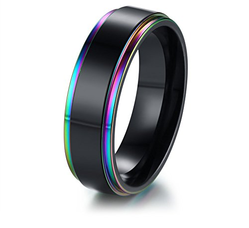 XUANPAI Stainless Steel Rainbow Edge Domed Weeding Ring Engagement Band for Couple Gay Pride LGBTQ Jewelry,Size 7