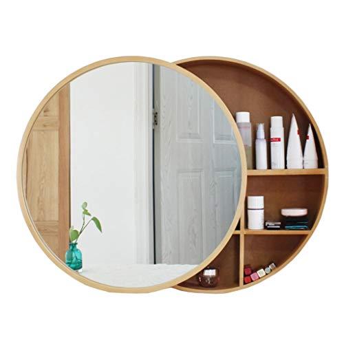 Xing Hua home Wand-Spiegel Bad Spiegelschrank Badezimmerspiegel mit Regal Schrank Wand-Make-up Eitelkeit runden Spiegel (Color : Wood Color, Size : 60cm)