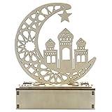 Ycncixwd Ramadan Eid Mubarak Decoración del hogar Castillo Luna Luz LED Adorno de madera DIY