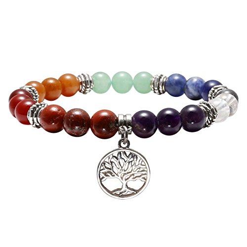 CrystalTears 10mm Bracelet d'Energie 7 Chakras Perle Pierres Naturelle avec Petite Pendentif l'arbre de Vie pour Femme Homme Yoga Reiki (Arbre de Vie)