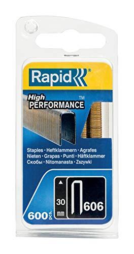 Rapid, 40109532, Agrafes N°606, Longueur 30mm, 600 pièces, Pour charpenterie et matériaux résistants, Fil galvanisé enduit de résine, Haute performance Gris
