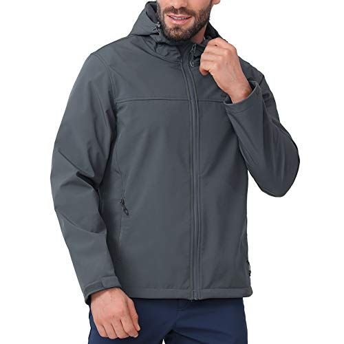 CAMEL CROWN Softshell Jacket Men Hooded Fleece Lined Outdoor Jackets Windproof Water Resistant for Hiking Casual Work Grey S