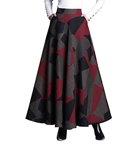 RIZ-ZOAWD Mujer Vintage Elegante Caliente Larga Falda de Lana Cintura elástica Maxi A-Line Otoño e Invierno Falda Enrejado Falda Paraguas (M (Cintura:68 cm), Color 25)