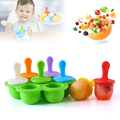 Silicone Popsicle Molds, Food Grade DIY Ice Pop Molds,Colorful Ice Cream Mold Ice Lolly, 7-Hole Popsicle Mold for Kids Food Freezer Trays Ice Pop Maker with Silicone Spoon and Cleaning Brush green