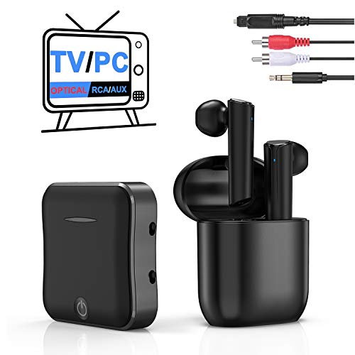 Vivefox Wireless Headphone for TV Watching, in-Ear TWS Earbuds Wireless TV Headphone with Bluetooth Adapter Combo Set for Optical Digital Audio, RCA, 3.5mm Aux Ports TV PC PS4 Nintendo Switch