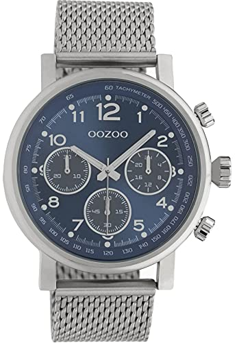 Oozoo Herrenuhr Chrono Look mit Milanaiseband 45 MM Silberfarben/Blau C10700