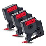 3x Labelwell 12mm x 7m Compatible Cintas de Etiqueta Reemplazo para DYMO D1 45017 S0720570 Negro sobre Rojo para Dymo LabelManager 160 280 260P 360D 420P 500TS LabelWriter 450 DUO LabelPoint 150 250