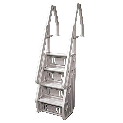 Vinyl Works Deluxe Adjustable 24-Inch Wide in-Pool Step Ladder Entry System for 46 to 60 Inch High Above Ground Swimming Pools with Non-Slip Steps, Taupe