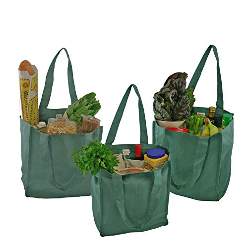 Simple Ecology Organic Cotton Deluxe Reusable Grocery Shopping Bag with Bottle Sleeves - Green 3 Pack (heavy duty, washable, durable handles, foldable, craft & gift bag, 6 bottle wine bag carrier)