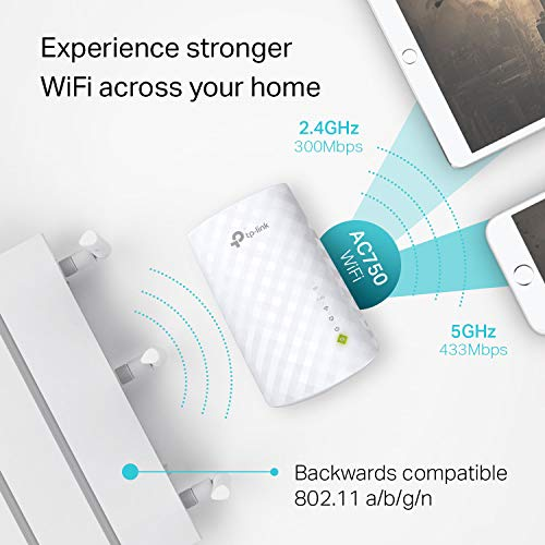 TP-Link | AC750 WiFi Range Extender - Dual Band Cloud App Control | 2019 Release | Up to 750Mbps | One Button Setup Repeater, Internet Booster, Access Point | Smart Home & Alexa Devices (RE220)