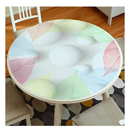 &Nappes Nappe ronde en PVC - Nappe ronde transparente en verre souple et imperméable nappe de table (Couleur : E, taille : Round-80cm)