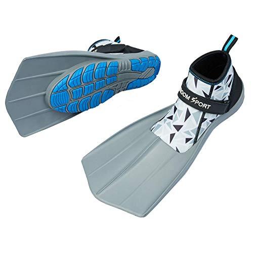 Khroom® Flossen-Schuhe zum Schnorcheln & Laufen am Strand | Bekannt aus YouTube | Sicher zu Land und im Wasser (Mosaic Weiß, 41,5)