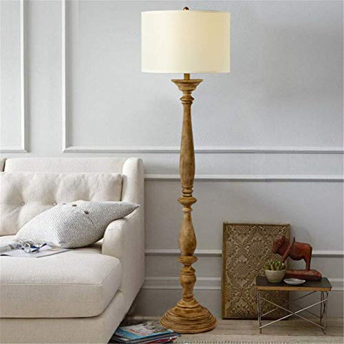 N/Z Home Equipment Floor Lamp Floor Lamp Rustic Do The Old Wooden Standing Lamp 1.56M with Round Fabric Shade for Living Room Bedroom Bedside Reading Office