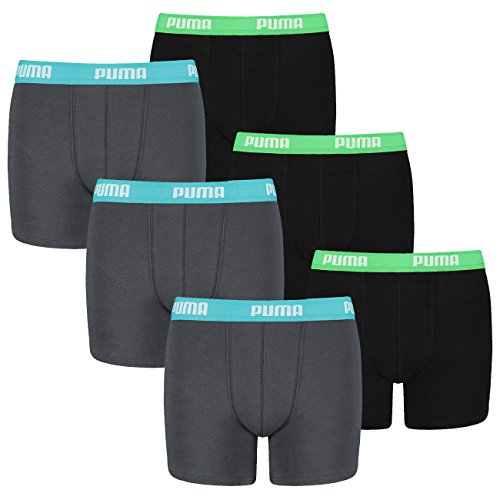 Puma Kinder Basic Boxer Short - 3x2 Shorts (6er Pack) - india ink / turquoise (376) - 140