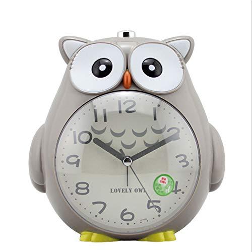 geneic Kinderwecker, Ohne Ticken Wecker,Cute Eule Doppelglockenwecker stille Uhr mit,Licht Glühende Clock Sprachansagen Wecker ,einfach einzustellen und batteriebetrieben Kindertagesgeschenk(Grau)