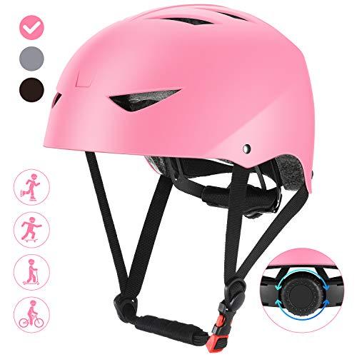 ValueTalks Casco Bicicleta Infantil con ajustador para Monopatín Patinaje BMX Esquiar,Apto para los niños de 6-15 años(Rosa)
