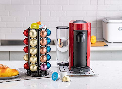 Coffee Pod Carousel Holder With Central Additional Storage For 30 Nespresso Vertuoline Pods (30 Pods)