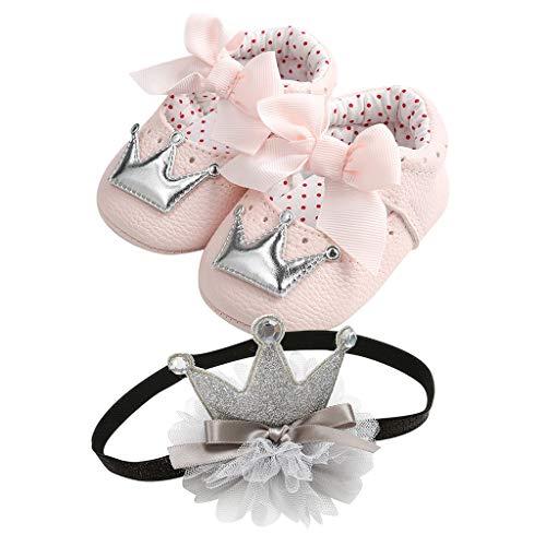 WEXCV Baby Mädchen Herbst Schuhe Bow Krone Muster Prinzessin Schuhe + Krone Haarband Krabbelschuhe Licht Prinzessin Sandale Freizeit Schuhe Süß Lauflernschuhe für 0-18 Monate