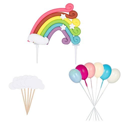 Girls'love talk Tortendeko Geburtstag, Cake Topper, Regenbogen Luftballons Wolken Kuchen Topper Kuchendeko Geburtstag Tortendekoration für Kinder Mädchen Junge