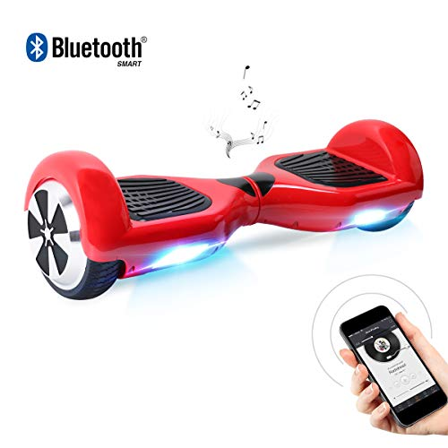 BEBK Hoverboard, 6.5 Zoll Self Balancing Scooter mit Bluetooth Lautsprecher - Tragetasche - LED Lights Elektro Scooter (Red)