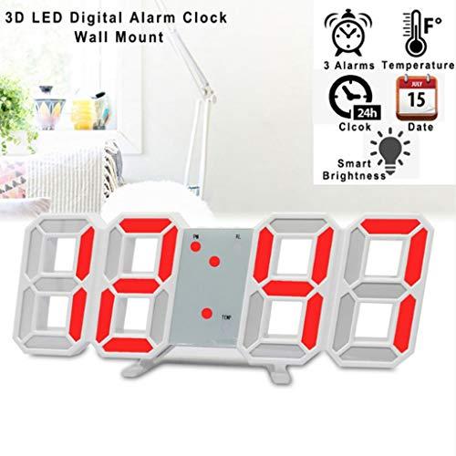 WQTT Minimalistische LED-klok met AC/DC-voedingsadapter - Digitale LED-bureauklok | Wandklok | Wekker