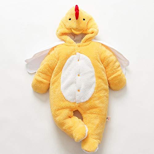 JJAIR Babys bebé Pijamas de Dibujos Animados, Felpa Suave Linda de Disfraces de Animales Onesie del Mono Cosplay Mameluco Pijamas,Amarillo,80