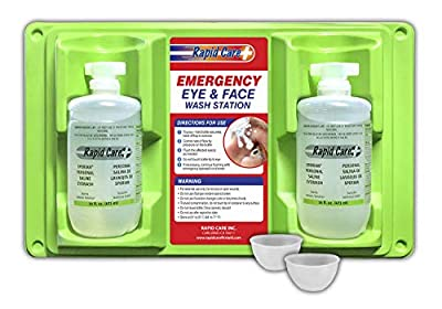 Rapid Care First Aid Eye Wash Station, Sterile Isotonic Eye Wash Bottles with 2 Bonus Reusable Eye Cups by Rapid Care First Aid