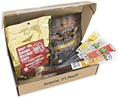 Man Crates Exotic Meats Jerkygram with 6 Sampler Varieties of Rare Jerky Meats - Great Gifts for Men