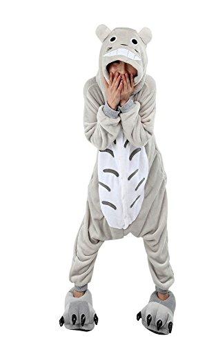 Pijama Kigurumi - Confeccionado en una pieza - Ideal incluso como disfraz de animal para carnaval, Halloween, fiestas cosplay, suave y cómodo de usar Totoro Medium