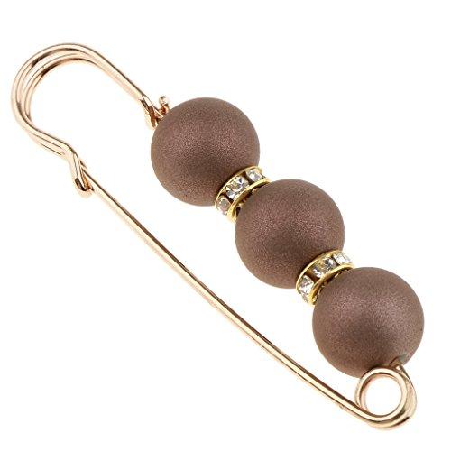 Baoblaze Perlen Sicherheitsnadeln Brosche Clip für Damen Schal Mantel Kleid, Mode Accessoire - Kaffee