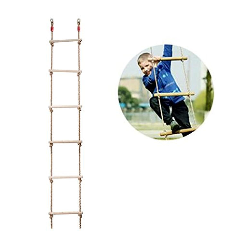 COMINGFIT? 6段 アスレチック 木製縄ばしご 子供?キッズ おもちゃ スポーツ練習 遊び道具 梯子 (大きい型)