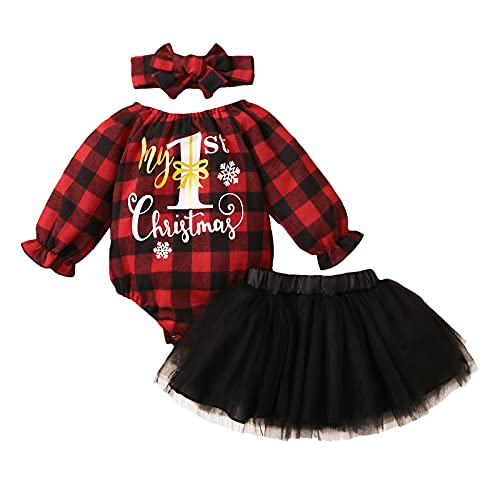 3-18 Months Newborn Infant Baby Girls Christmas Xmas Letter Printed Plaid Romper Bodysuit+Tulle Skirts Winter Outfits Black