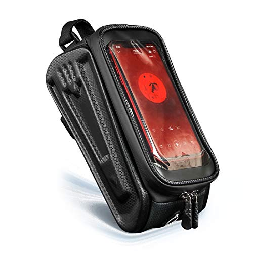 HJSW Bolsa Bicicleta Montaña Cuadro Impermeable, Soporte Manillar Móvil Bicicletas Accesorios Mochila Bicletas Frame Bag para iPhone 12/11/Max/Mini/Pro/XS Max/XR/X/7/8 Plus, 4.0''~7.5'' Teléfono