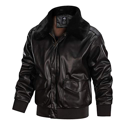 faux Leathers Men's Air Force A-2 Leather Flight Bomber Jacket (Brown-Fur collar, M)