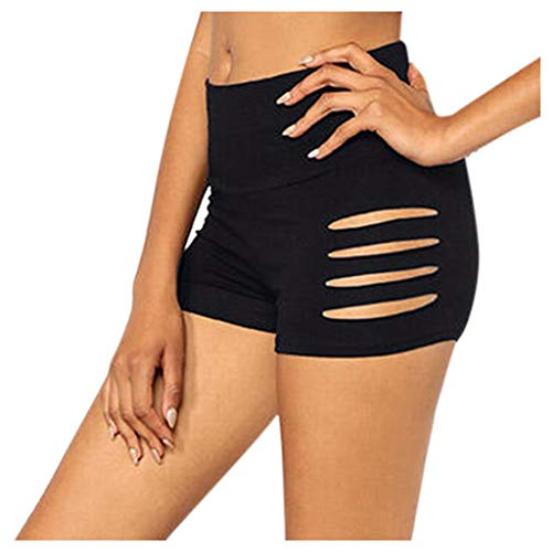 DEELIN Femme Sexy Hot Pantalon De Mode Solide Couleur Extensible Taille Haute Shorts Creux Fitness Sport Shorts D'été Leggings Pantalon De Sécurité