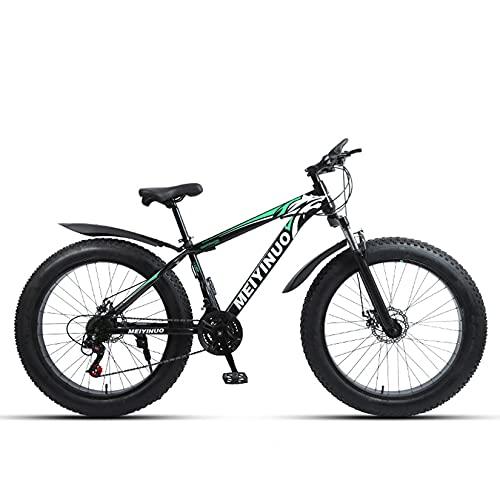 WLWLEO Bicicleta de montaña para Hombre de 26 Pulgadas Bicicleta de Nieve Fat Tire Bicicleta de montaña de Cola Dura con Horquilla Delantera amortiguadora,Freno de Disco,MTB Todo Terreno,E,27 Speed