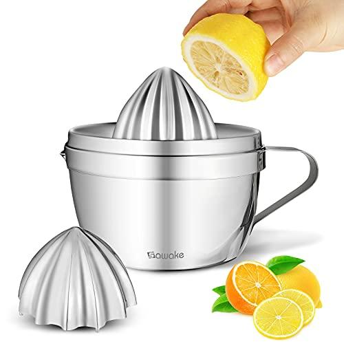 SAWAKE Zitronenpresse Zitruspresse Edelstahl,Saftpresse manuell von Zwei Größen mit Behälter 500ml,Spülmaschinengeeignet,rostfreier Hand Entsafter für Zitronen, Limetten,Apfelsinnen,Orange,Grapfruit